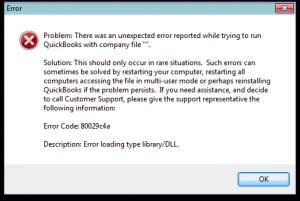 Error msg: QuickBooks error code 80029c4a